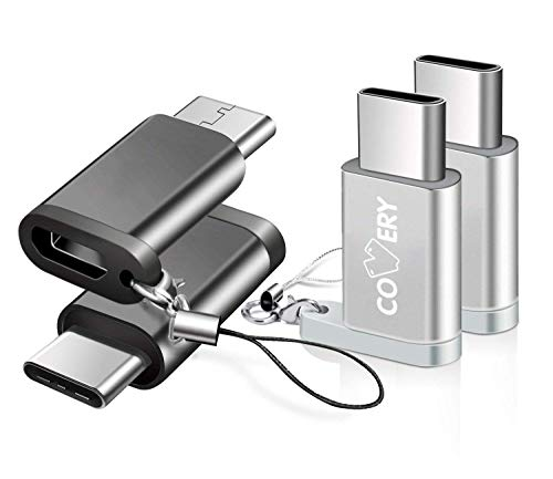 【4点セット】COVERY USB Type C 変換 ,Micro USB→USB-C変換アダプタ アルミニウム合金製 typeC Quick Charge 新しいMacBook、ChromeBook Pixel、Nexus 5X、Nexus 6P、Nokia N1、samsung s9 、samsung s9 plus、samsung s9+などType-C端末に対応(黒/シルバー)