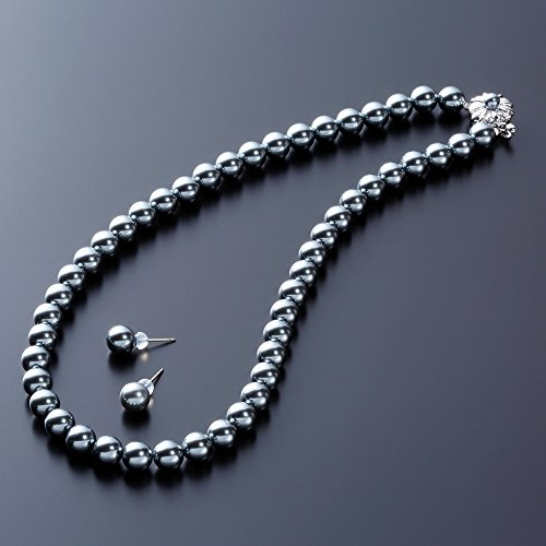 [Gem Crown] 高級 国産 貝 パール フォーマル ネックレス 百貨店 人気 国内宝飾職人製作 [保証書付] パールネックレス ピアス セット グレー 42cm 真珠 冠婚葬祭 結婚式