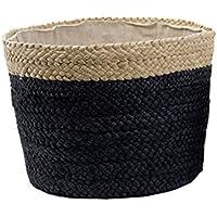 ストレージバスケット汚れた服仕上げスナック食料品ボックスヨーロッパの麦わらファッションシンプルな黒 (サイズ さいず : B)