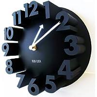 【MEIDI-CLOCK】アート 3D ナンバー ラウンド ウォールクロック (ブラック) 壁掛け時計