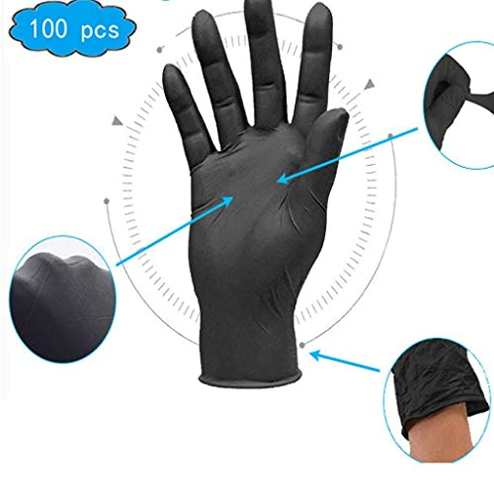 ピッチ熱狂的な病的ニトリル手袋、医薬品および備品、応急処置用品、産業用使い捨て手袋 - テクスチャード、パウダーフリー、無菌、大型、100個入り、非滅菌の使い捨て安全手袋 (Color : Black, Size : M)