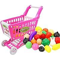 Xiang Ru ショッピングカート 子供 おもちゃ おままごと 手押し車 知育玩具 プレゼント 誕生日 買い物のゲーム スーパーマーケット 野菜と果物の種類はランダム発送 25点セット ピンク