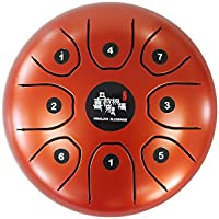 スティール タング ドラム 5.5インチ ハンド パン tongue drum Cメジャー  (つや消しオレンジ)