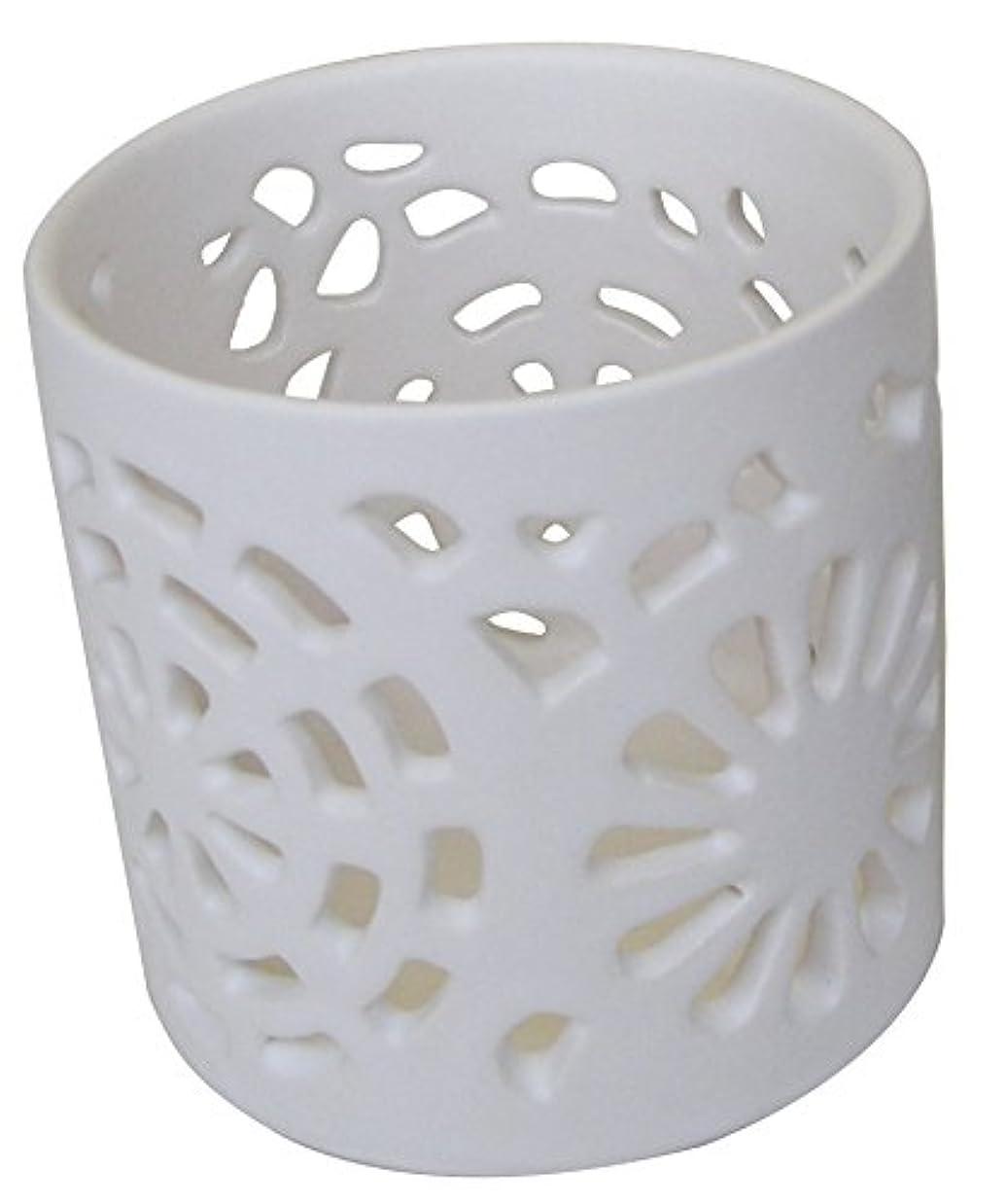 クルー縫い目外部マルエス 陶器製 燭台 日輪 ホワイト