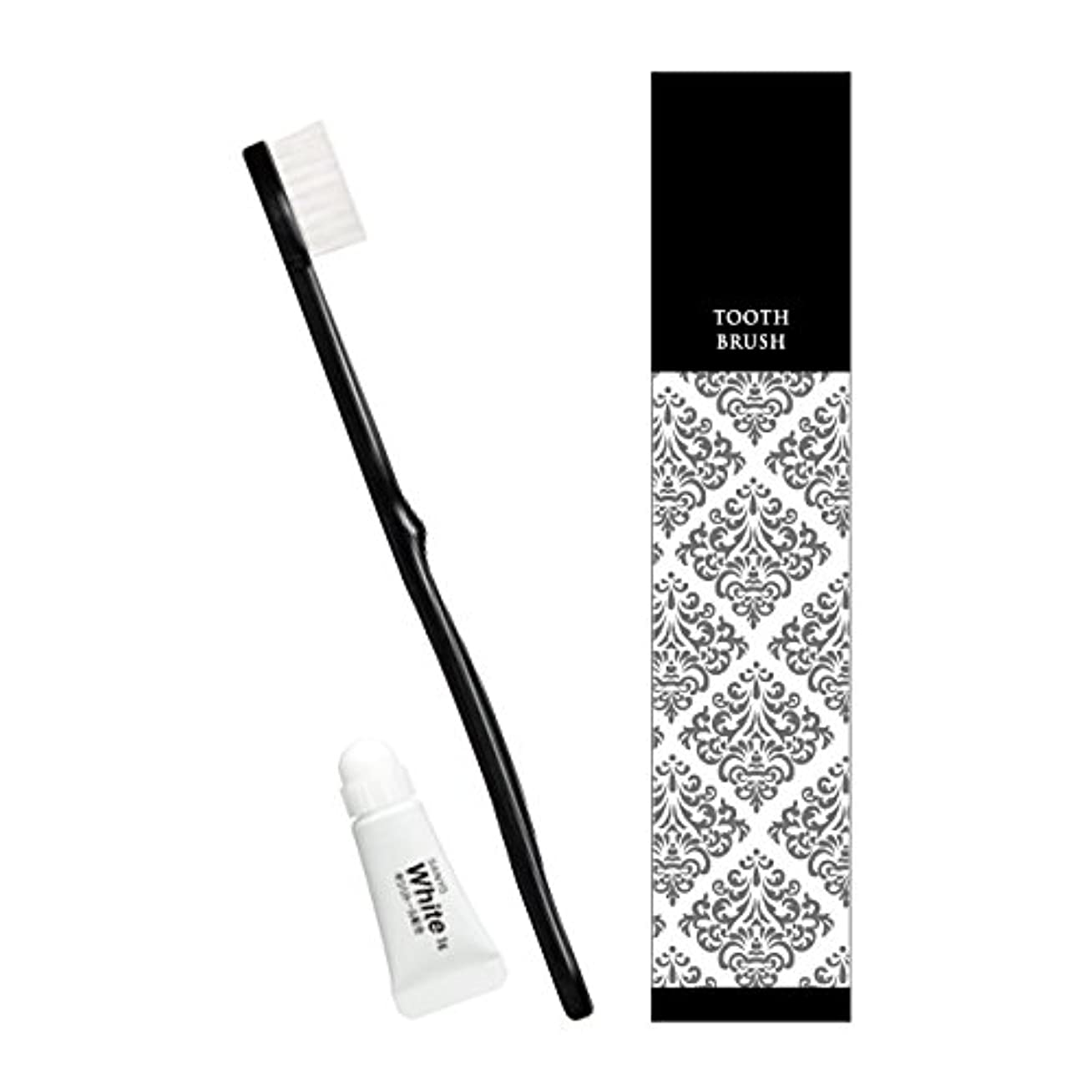 ワゴン対話整理するピエンタ ホテル業務用ハブラシ(黒)28穴 3gチューブ付 500本