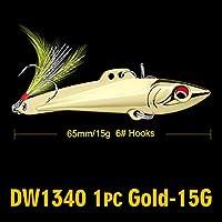 フェザー2色メタルベイト釣りと1PC鉛筆-VIB釣りルアー7センチメートル-8センチメートル/ 15グラム、20グラムベースベイト6#高炭素フックタックル 15Gゴールド