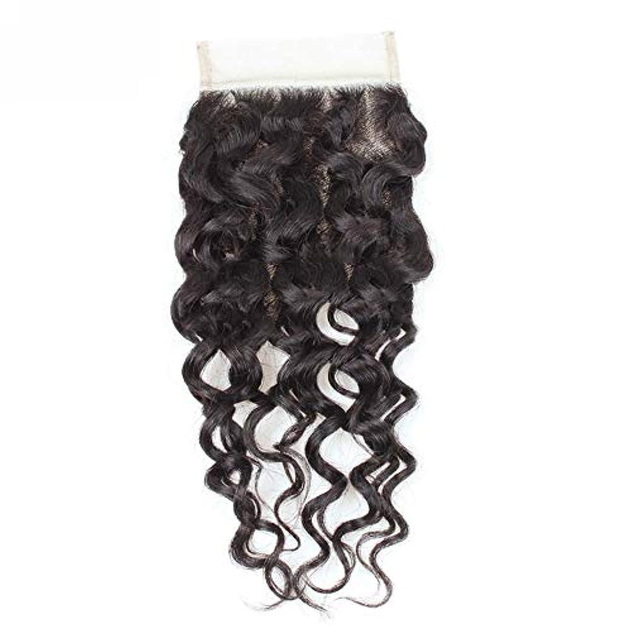 海岸駐地代数WASAIO 閉鎖ボディグレード未精製ヴァージン髪を持つブラジルのウォーターウェーブレース人間ウィーブ (色 : 黒, サイズ : 12 inch)