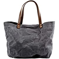 Baosity Unisex Waxed Canvas With Leather Strap Tote Bag Waterproof Big Shoulder Bag