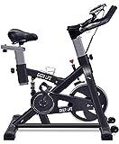 フィットネスバイク エクササイズバイク スピンバイク 心拍数測定 負荷調節 高機能デジタルメーター付き iDeer Life (ブラック 09060)