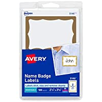 (100 name tags, Gold Border) - Avery Personalised Name Tags, Print or Write, Gold Border, 5.1cm - 0.9cm x 7.6cm - 1cm , 100 Adhesive Tags (5146)