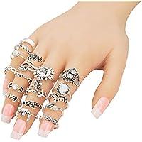 Augonfever Boho Knuckle Ring Set Antique Silver V Chevron Sun Moon Flower Leaf Elephant Owl Midi Rings