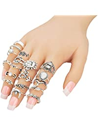 Augonfever Boho Knuckle Ring Set Antique Silver V Chevron Sun Moon Flower Leaf Elephant Owl Midi Rings