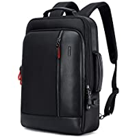 """Bopai Luxury Style Leather & Microfibre Anti-Theft Business and Travel with USB Charging Backpack B6641 Black 15.6"""" Laptop"""