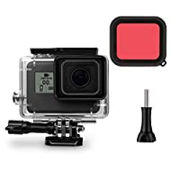 Makit GoPro Hero6/GoPro Hero5対応 防水ハウジングケース(レッドフィルター付き)スポーツカメラ 水中撮影 45m防水 gopro hero 6 case