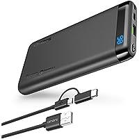Omars USBC モバイルバッテリー10000mAh Power Delivery 対応 Quick Charge 3.0 対応 パソコン 充電 バッテリー(USB-Cケーブル付) LCD残量表示 MacBook/ノートパソコン/iPhone/iPad/Android/Nintendo Switchなど対応可能 (グレー)