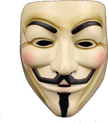Vフォー・ヴェンデッタ ガイ・フォークス アノニマス 仮面マスク コスチューム用小物 イエロー クリーム 男女共用