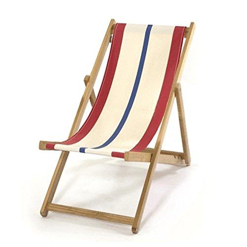 LONA 折りたたみ 木製 キッズビーチチェア ナチュラル×レッド×ブルー 約48×62×H72cm