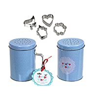 Wilco Vintage Floral Blue Polka Dot Flour Shaker and Cookie Cuttersギフトセット