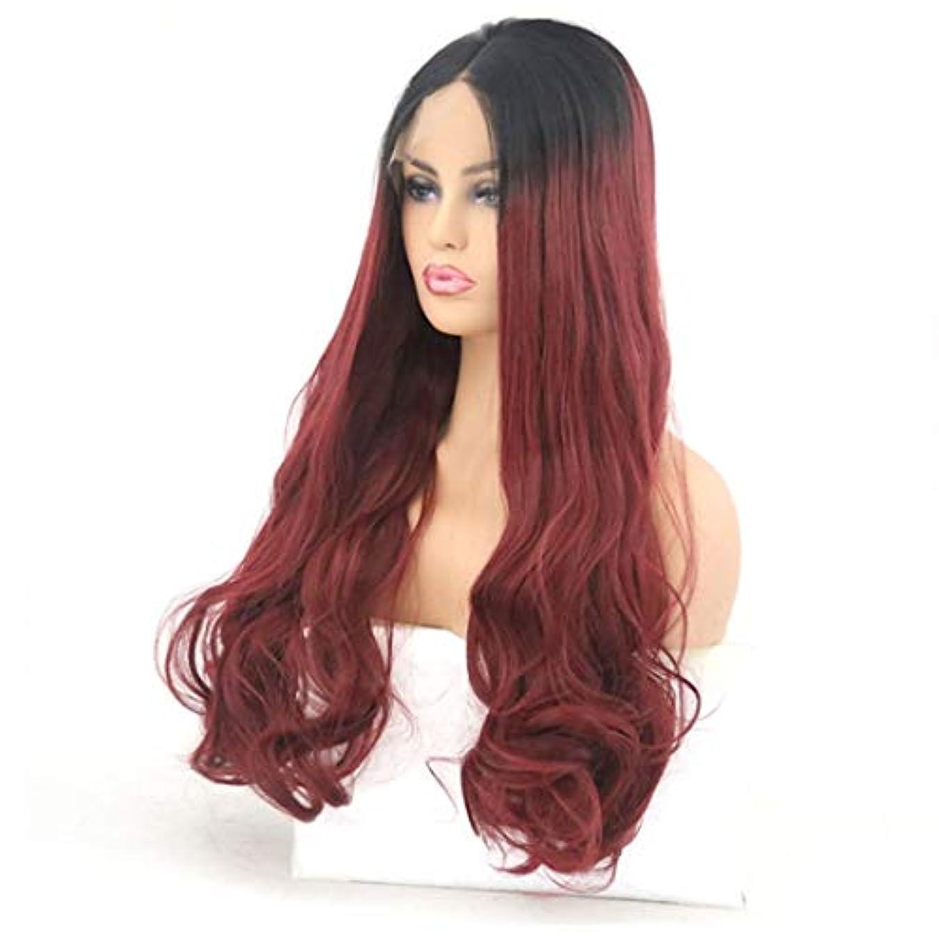 ステープル細分化する有害なKerwinner 耐熱性女性のためのフロントレースのかつら長い巻き毛の大きな波状の巻き毛