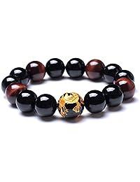 Merdia Men's Tiger Eye Stretch Bracelet Dragon King Pattern Bead(Silver&Yellow)