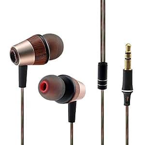 Woting Audio HLSX BK50 ダブルドライブ 1BA+1DD ダイナミック ハイファイ・ステレオ・ヘッドセット (木製の色) (マイクなしで)
