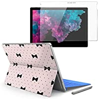 Surface pro6 pro2017 pro4 専用スキンシール ガラスフィルム セット 液晶保護 フィルム ステッカー アクセサリー 保護 ピンク ドット リボン 012525