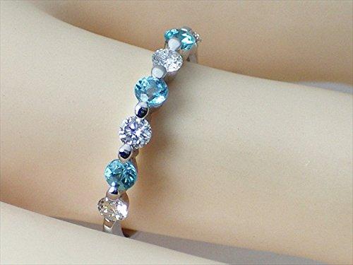 J-Jewelry レディース プラチナ パライバトルマリン ダイヤモンド ファッションリング 指輪 横並びデザイン