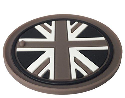 [Cat Fight] BMW MINI ミニ クーパー ノンスリップ ラバー ドリンク コースター イギリス ユニオンジャック (ブラックジャック, Eセット77mm×4枚)