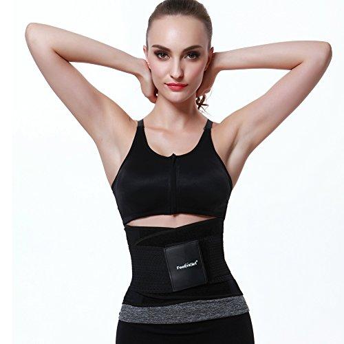 FeelinGirl 男女兼用 軽量薄型の腰用メッシュサポーター ダイエットベルト 姿勢矯正 腰痛ベルト ブラックM