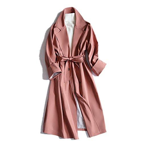 レディース 秋冬 コート オシャレ トレンチコート 薄手 リボン付き スプリングコート 通勤 カジュアル ロングコート ももいろ XL