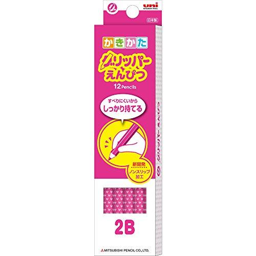 三菱鉛筆 鉛筆 かきかたグリッパー 2B ピンク 1ダース K69052B