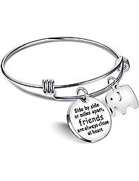 Bangle Bracelets Friendship Best Friend Gifts Elephant Pendant - Friends are always close at heart