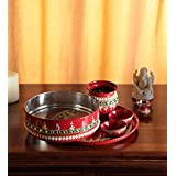 Itiha Indian Traditional Karvachauth/Karwachauth/Karva Chauth Pooja thali Set for Gifts for Wife/Gifts for Daughter in-Law/Te