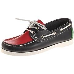 2-Eye Boat Moccasin 11-32-7016-699: Navy / Green / Red