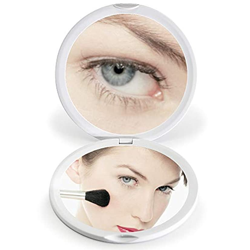 唯物論海外でポケットFASCINATE 化粧鏡 化粧ミラー 鏡 女優ミラー 拡大鏡 10倍 明るさ調節可能 電池給電 (ホワイト)