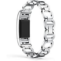 OVERMAL Genuine Stainless Steel Bracelet Smart Watch Band Strap For Fitbit Charge 2 (For Fitbit Charge 2, Silver)