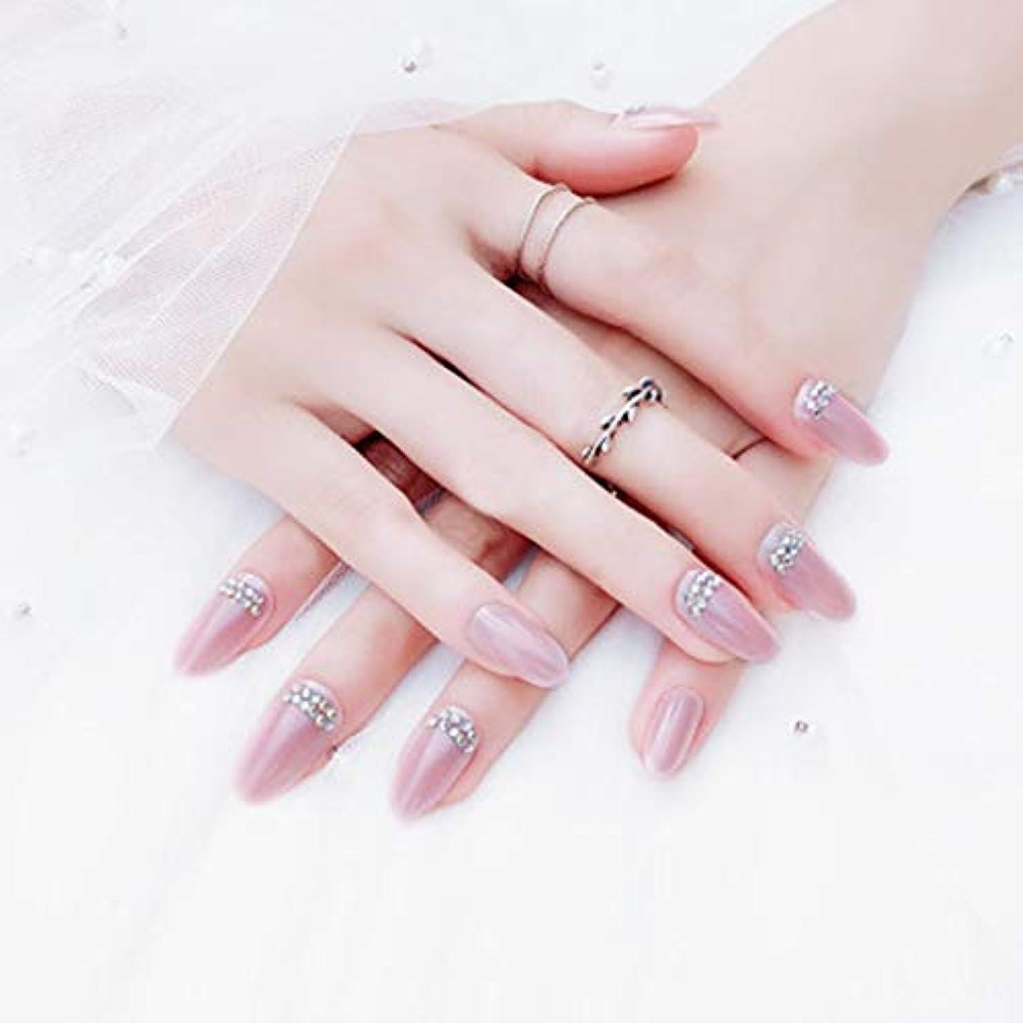 発見する感情不毛AAcreatspaceファッション花嫁偽爪ネイルダイヤモンドパターン偽爪かわいい偽爪ショートサイズレディフルネイルのヒント