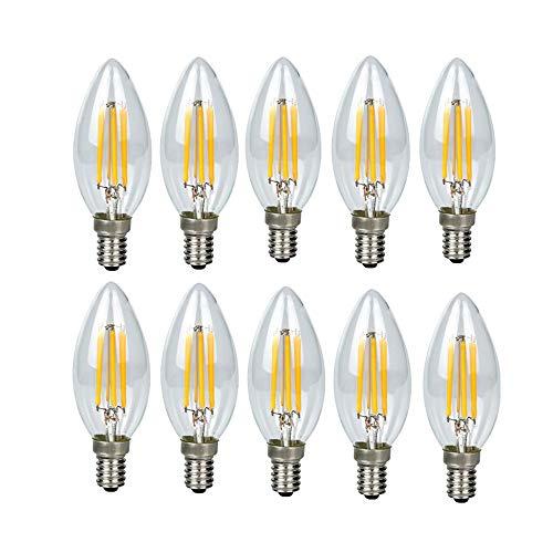 E14口金 4W フィラメント電球 25W相当 450LM レトロ C35 LED シャンデリア球 電球色 3000K 高輝度 発光角360° ヴィンテージ LED電球 10個入