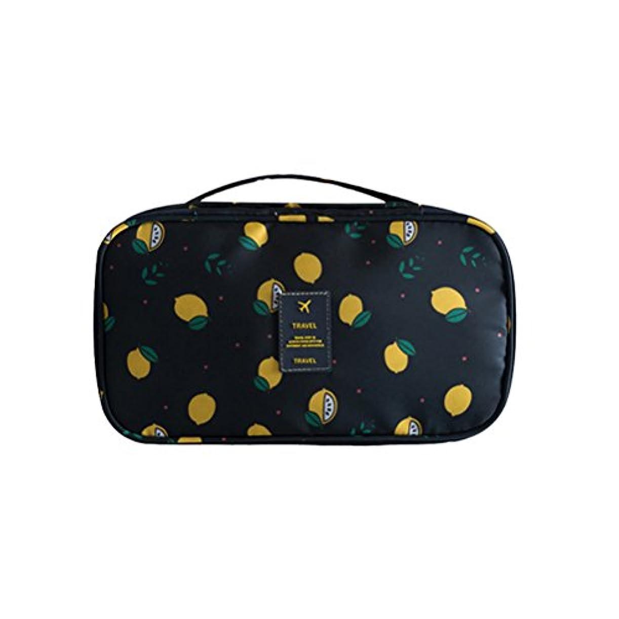 OUNONA トラベルバッグ ランジェリーケース ブラジャー収納 オーガナイザー ポーチ ランジェリートラベルケース ポータブル ブラ、靴下、下着、化粧品などの保管(ブラックレモン)