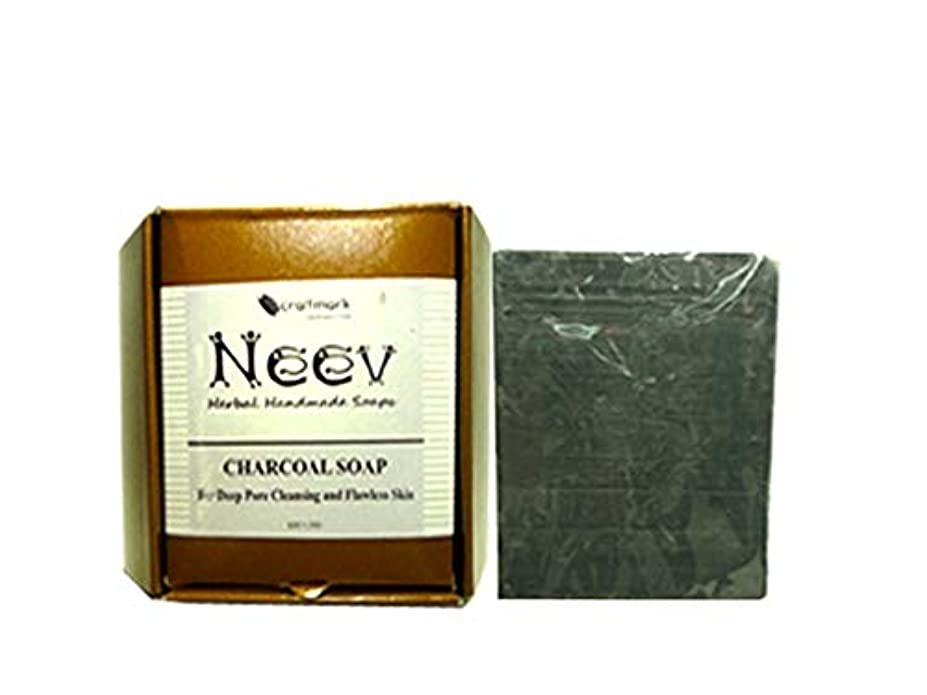 判読できない不快な頑丈手作り アーユルヴェーダ ニーブ チャコール ソープ(炭石鹸)100g NEEV CHARCOAL SOAP