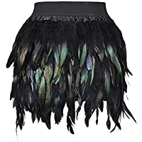 PERSUN Women's Mid Waist A-Line Short Feather Skirt for Party Supply