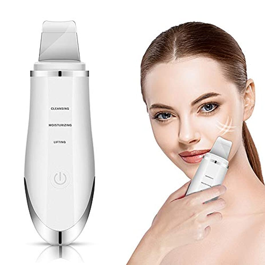 社会学剃る母性マシンアンチエイジングブラックヘッドリムーバーを引き締め顔の皮膚スクラバー超音波イオン洗浄器、アンチリンクルマッサージャー電動フェイス,白