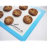 LUNA Silicone Baking Mat | (2 Pack) Non-Stick Cookie Sheet | Eco Friendly Liner | Perfectly sized for standard baking trays | Professional Grade | Reusable non-stick baking mat perfect for cookies, macaroons, pastry and savoury bakes (2pk, Blue)