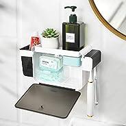 YOHOM Toothbrush Holder Wall Mounted Adhesive Dental Storage Organizer for Bathroom Toothbrush Hanger Set with