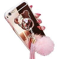 iPhone 7Plus / 8Plusケース、豪華ファーボールソフトラバーバンパーキラキラ光るダイヤモンドキラキラミラーメイクアップケースwith Bearリングスタンドホルダーfor Girls iPhone 7 Plus / 8 Plus
