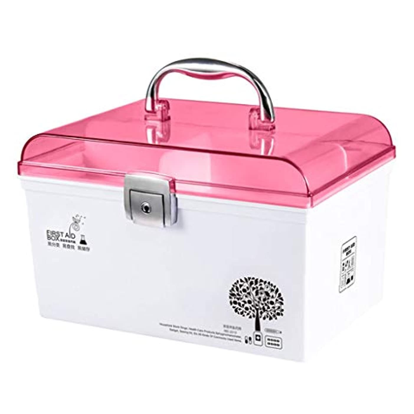 帰るセレナカラスCQ 薬箱透明プラスチック家庭用漫画ポータブル薬収納ボックス (Color : Pink)