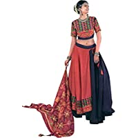 Exotic India Insignia Blue and Dubarry Lehenga Choli from Gujarat with Multicolor Embroidery and Mirrors