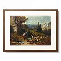 カール・シュピッツヴェーク Carl Spitzweg 「Walkers in a landscape with castle ruin.」 額装アート作品