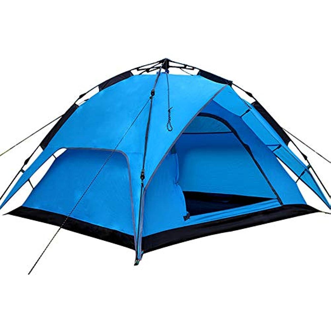 農業の外側致命的屋外のキャンプテント、3-4人はロープを引っ張ります自動防雨のキャンプテント