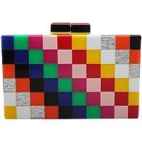 Mogor Women Colorful Box Clutch Handbag Clear Acrylic Evening Bags Cross Body Purse